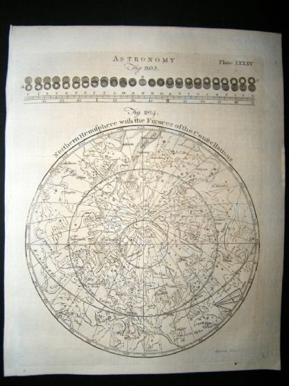 Astronomy C1790 Antique Print. Northern Hemisphere & Figures of The Constellation 85 | Albion Prints